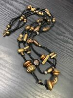 Vintage  Bohemian  Multi Strand Copper Gold Black Seed Beaded Necklace  30 Long