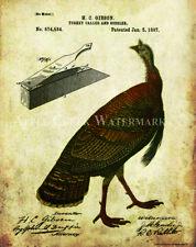 Turkey Hunting Box Call Patent  Poster Art Print Vintage Shotgun Shells PAT428