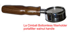 La Cimbali Bottomless filter holder - portafilter with wooden walnut handle