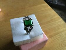 Green Chrome Diopside 14 k White Gold Filled Ring Size 7.5