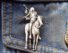 Indian on Horse Pewter Pin Badge