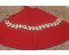Pottery Barn Red Crewel Embroidered Holly garland Christmas tree skirt