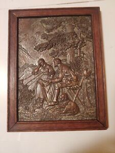 Vintage Hammered Copper Metal Picture Wall Art Relief Embossed In Frame