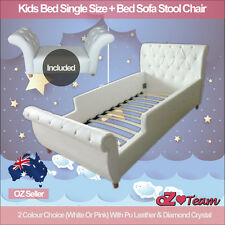 Kids Girls Boys Bed Frame PU Leather Diamond Single + Bed Sofa Stool Chair