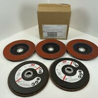 "3M 61195 Abrasive Flap Disc 947D, Type 27, 7"" in x 7/8"" in Grade 40 QTY (5)"