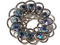 Bijou alliage argenté broche rosace cristaux multicolores brooch