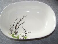 1954 W.S. GEORGE HALF CENTURY DINNERWARE PUSSY WILLOW & GREEN GRASS SERVING BOWL