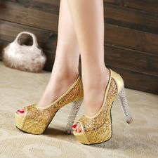Women Sexy Net Yarn Shoes Block High Heel Platform Pumps Peep Toe Sandal Slip On