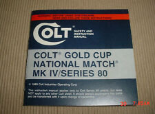 Colt Gold Cup National Match Series 80 Manual 1983