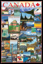Vintage Art Deco CANADA TRAVEL POSTERS Collage Poster - Rockies, Niagara Falls,+