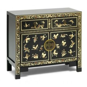 Made to Order Golden Dragon Oriental Painted Solid Wood Black & Gold Sideboard