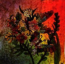 "Indonesian Batik Painting Panel BUTTERFLIES Art Cotton 18"" x 18"""