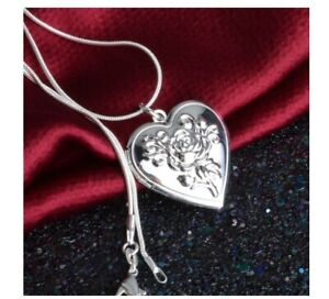 Stylish Silver Plated Rose Flower Heart Photo Locket Charm Pendant Necklace Gift