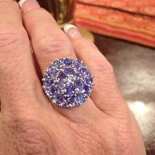 5.22 TCW, TANZANITE CLUSTER RING IN STERLING SILVER, W/PLATINUM OVERLAY, SZ 7