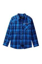 NWT Hurley Big Boys L Long Sleeve Woven Cotton Button Shirt Collar Blue Plaid