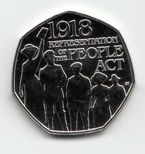 Royal Mint 2018 The People Act 1918  BU 50p Coin - Brilliant Uncirculated