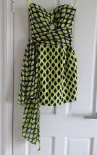 DKNY lime green/black animal print summer dress w/long ties - Size US 2