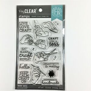 Hero Arts Handmade Happiness Clear Stamp Set Craft Hands Phrases Sayings