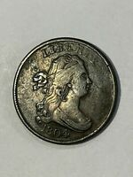 1804   Half Cent  cross 4 stemless