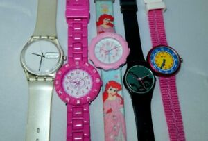 Vintage 5pc Swatch, Flik Flak Ladies and Youth Watch Lot, All Working