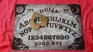 Wooden Black Ouija Board game & Planchette Instructions. Spirit hunt Ghost magic