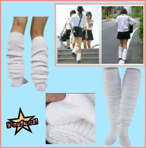 Socks Bubble Loose Slouch Socks Winter Leg Warmer Women Japan High School White