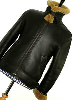VTG MENS BURBERRY LEATHER SHEEPSKIN SHEARLING AVIATOR FLYING JACKET COAT 40R