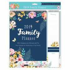 2019 Family Organiser Calendar - Shopping List, Memo Pad and Pen - Flowers