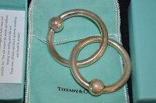 TIFFANY & CO STERLING SILVER DOUBLE RING BABY RATTLE W ORIGINAL BOX & POUCH
