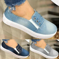 Womens Denim Canvas Pumps Slip On Flat Loafers Trainers Casual Sneakers Shoes