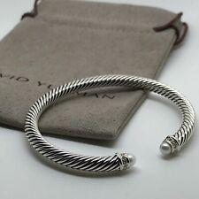 David Yurman Cable Classics Bracelet w/ Pearls and Diamonds 5mm Size M