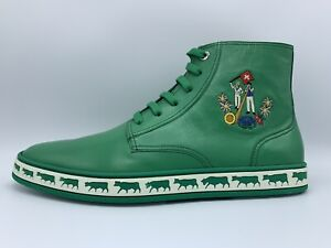 $500 Bally Animals Green Leather High Tops Sneakers size 13 Made in Switzerland