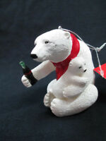 Coca-Cola Kurt Adler Resin Polar Bear Holiday Bear Hug Christmas Ornament