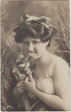 VERY PRETTY ALLURING LADY Dress Bodice Flowers Risque Vintage PC Belgium 1908