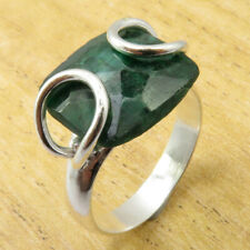Gem Silver Plated Jewelry Wholesale Price Unseen Simulated Emerald Size 11 Ring