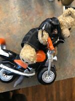 "Build-A-Bear Workshop 15"" Plush Orange Black Motorcycle + Harley Davidson Jacket"