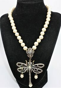 HEIDI DAUS Dragonfly Pendant Statement Necklace Crystal & Faux Pearls Beautiful!