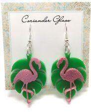 Monstera Leaf Flamingo Dangle Statement Earrings Laser Cut Acrylic Jewellery