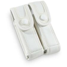 9mm Glock Dual Mag Pouch Magazine White Leather Snow Camo Pistol Belt .45 .40 22