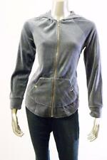 Style & Co. Bedford Blu Velour Dark Grey Hooded Zipper Jacket long sleeve Sz S