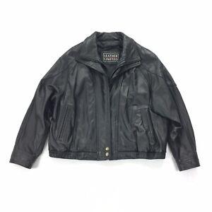 Leather Limited Double Breasted Jacket Size Extra Large Womens Black Waist Coat