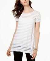INC International Concepts Illusion Striped Top, Bright White Size 2X