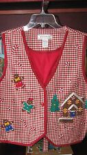 Westbound Casual Women's Large 100% Cotton Christmas Country Decor Vest  'L' Red