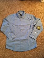 New Volcom Big Youth Boys Everett Blue Oxford Button Up Shirt Medium/10