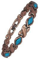 Womens or Mens Magnetic Therapy Bracelet Copper and Stone Healing Bangle MJ338C