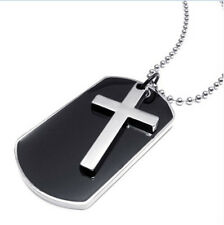 1 Pair Army Style Name Dog Tag Cross Pendant Mens Necklace 24 inch Chain