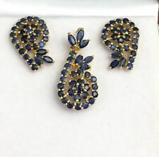 14k Solid Yellow Gold Cluster Pendant Earrings  Set, Natural Sapphire 5.94 Grams
