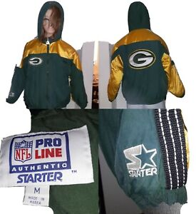 Vtg Green Bay Packers Starter Pro Line Hooded Coat warm reflective Jacket Sz Y/M