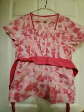 """New listing Koi-Kathy Peterson Scrub Top Size Large-Pink Hearts/Back Ties-24"""" armpit across"""
