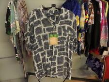 Men's Hawaiian Oleg Cassini sz L Cream Gray Hula Girls geometric print Rayon